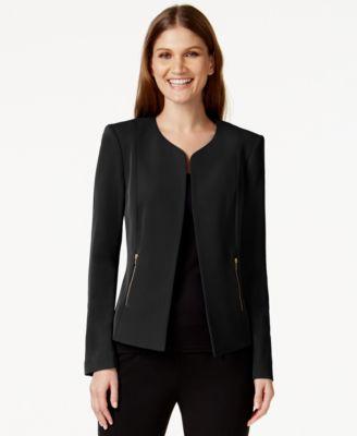 Calvin Klein Zip-Pocket Collarless Blazer - Jackets & Blazers ...
