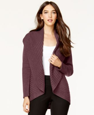 Alfani Ribbed Cascade Cardigan, Only at Macy's - Sweaters - Women ...