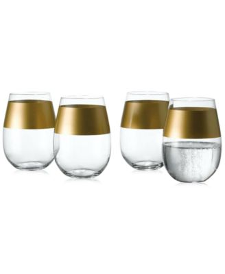 The Cellar Gold Set of 4 Stemless Wine Glasses, Only at Macy's