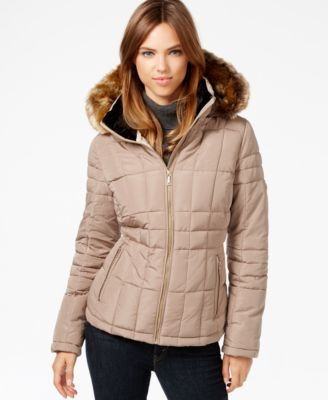 Calvin Klein Faux-Fur-Trim Hooded Puffer Down Coat - Coats - Women ...