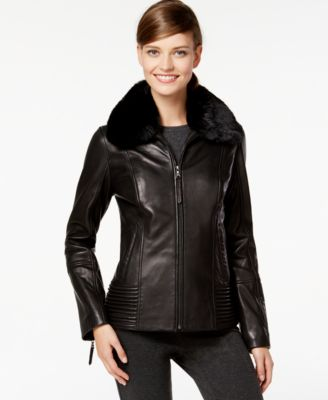 Jones New York Faux-Fur-Collar Leather Jacket - Coats - Women - Macy's