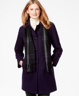 London Fog Petite Peacoat with Plaid Scarf - Coats - Women - Macy's