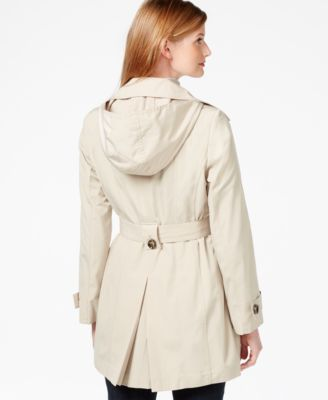 London Fog Petite Hooded Belted Trench Coat - Coats - Women - Macy's