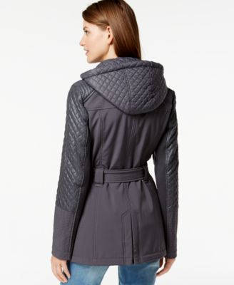Michael Michael Kors Petite Quilted Sleeve Asymmetrical Zip Coat