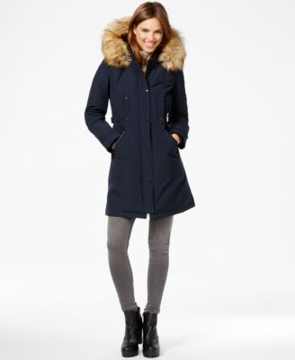 Vince Camuto Faux-Fur-Trim Hooded Parka - Coats - Women - Macy's