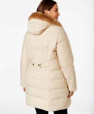 Larry Levine Plus Size Faux-Fur-Trim Quilted Down Coat - Coats