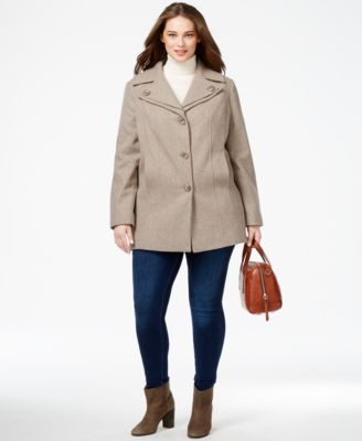 London Fog Plus Size Layered-Collar Peacoat - Coats - Women - Macy's
