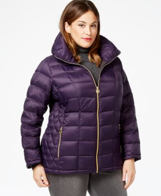 michael michael kors plus size contrast quilted puffer coat