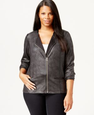 Style & Co. Plus Size Faux-Leather-Trim Coated Bomber Jacket, Only at Macy's