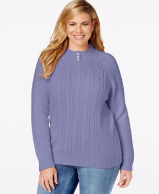 Karen Scott Plus Size Cable-Knit Sweater, Only at Macy's ...