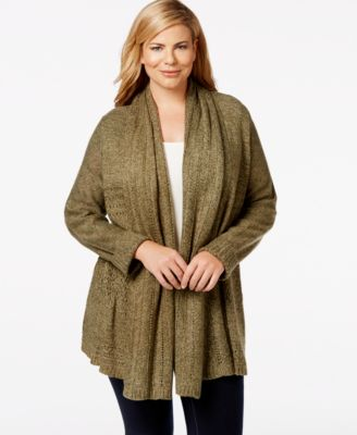 Karen Scott Plus Size Cable-Knit Draped Cardigan, Only at Macy's ...