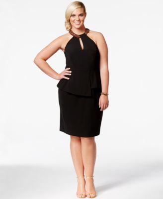 City Chic Plus Size Beaded Halter Peplum Dress - Dresses - Plus ...