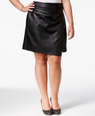 Junarose Plus Size Faux-Leather Wrap Skirt - Skirts - Plus Sizes ...