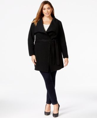 Calvin Klein Plus Size Belted Wrap Sweater-Jacket - Coats - Plus ...