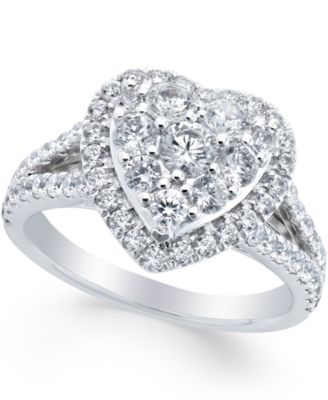 Diamond Heart Engagement Ring 1 12 ct tw in 14k White Gold