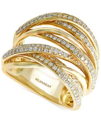 EFFY Diamond Overlap Ring 3 4 ct t w in 14k White Gold Yellow