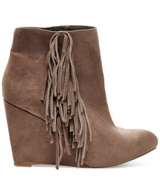 Madden Girl Pave Wedge Fringe Booties - Boots - Shoes - Macy's