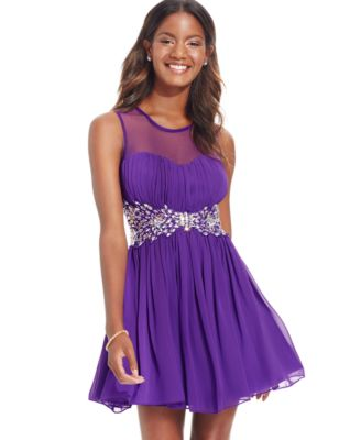 B Darlin Juniors' Jeweled Illusion Fit-and-Flare Party Dress ...