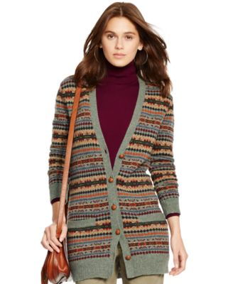 Polo Ralph Lauren Fair Isle Wool Cardigan - Sweaters - Women - Macy's