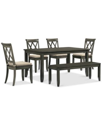 Russet 6 Piece Dining Set Table 4 Chairs And Bench