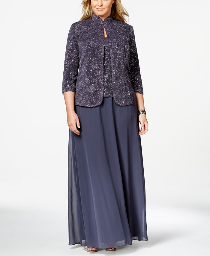 Alex Evenings - Dress and Jacket, Glitter Accented