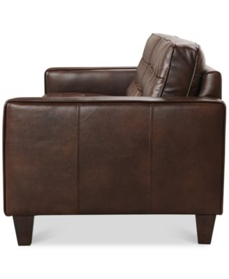 Bray Button Tufted Leather Sofa