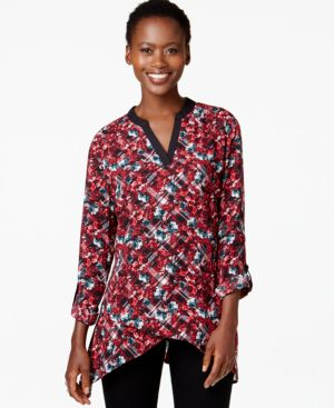 Ny Collection Tab-Sleeve Printed Blouse