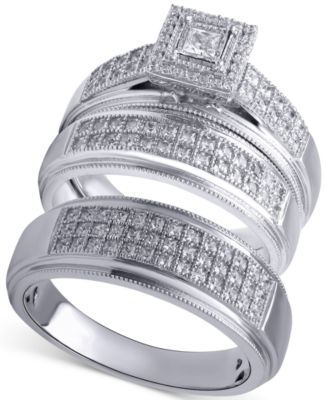 beautiful beginnings mens diamond wedding band 15 ct tw in sterling silver - Macy Wedding Rings