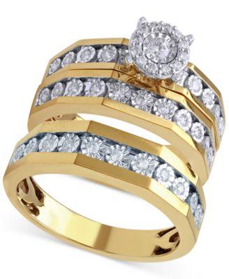 Beautiful Beginnings Mens Diamond Wedding Ring 18 ct tw in