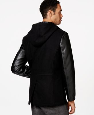 Sean John Hooded Faux-Leather Sleeve Peacoat - Coats & Jackets ...
