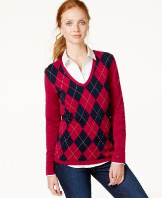 Tommy Hilfiger Lurex Argyle Sweater - Sweaters - Women - Macy's