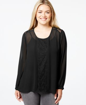 Eyeshadow Plus Size Lace-Trim Pleated Sheer Blouse - Tops - Plus ...