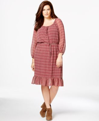 ING Plus Size Floral Fit & Flare Dress - Dresses - Plus Sizes - Macy\'s