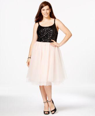Trixxi Plus Size Lace Tulle Party Dress - Dresses - Plus ...