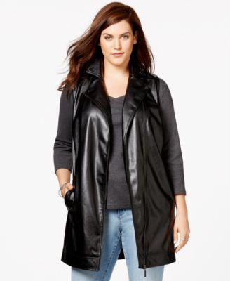 Harper and Liv Plus Size Long Faux-Leather Moto Vest - Jackets ...