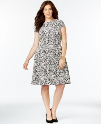 alfani plus size textured fit-and-flare dress - dresses - plus