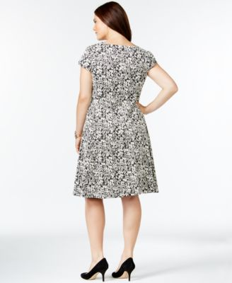 Alfani Plus Size Fit-and-Flare Floral Dress, Only at Macy's ...