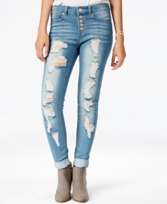 Indigo Rein Juniors' Button-Front Super-Soft Ripped Skinny Jeans ...