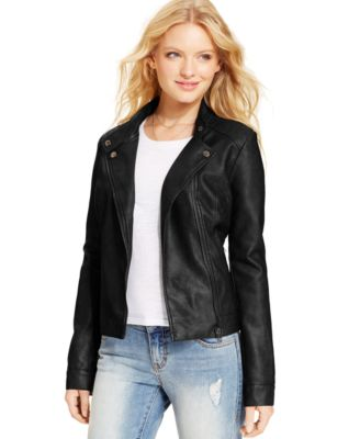 American Rag Juniors Faux-Leather Jacket - Jackets & Vests ...