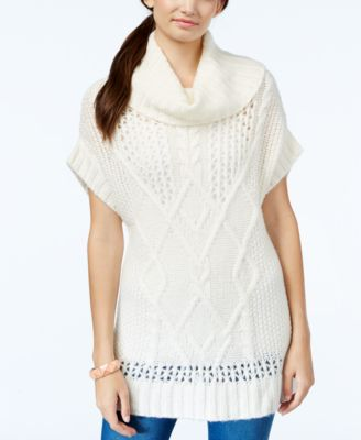 Jessica Simpson Antiquity Cowl-Neck Short-Sleeve Cable-Knit ...