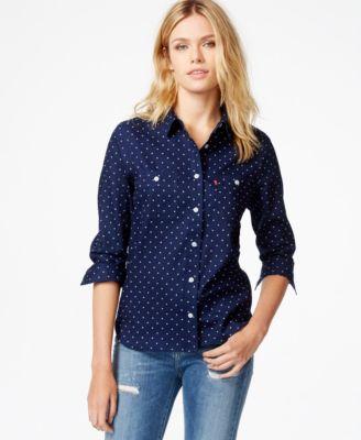 Levi's® Polka-Dot Boyfriend Shirt - Tops - Women - Macy's