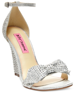 Betsey Johnson Delancyy Wedge Evening Sandals Women's Shoes