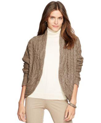 Lauren Ralph Lauren Cable-Knit Open-Front Cardigan - Sweaters ...
