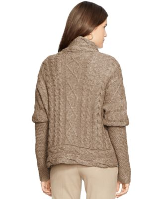Lauren Ralph Lauren Cable-Knit Open-Front Cardigan - Sweaters ...
