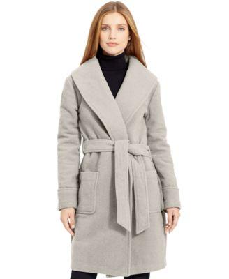 Lauren Ralph Lauren Wool Wrap Coat - Women's Brands - Women - Macy's