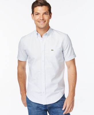 Lacoste Woven Short-Sleeve Button-Down Shirt - Casual Button-Down ...