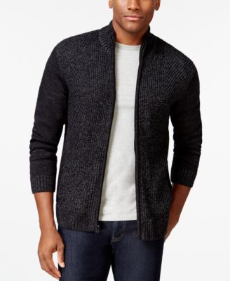 Alfani BLACK Marled Full-Zip Sweater, Only at Macy's - Sweaters ...