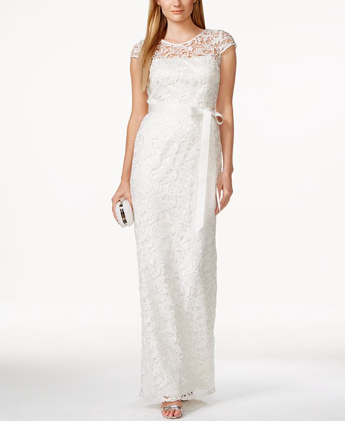 Adrianna Papell - Cap-Sleeve Illusion Lace Gown