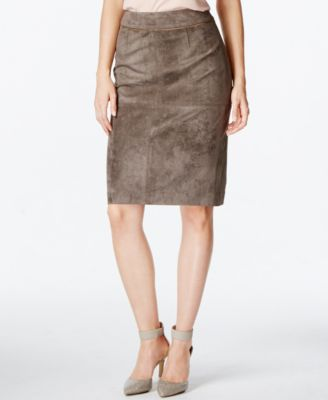 Calvin Klein Faux-Suede Pencil Skirt - Skirts - Women - Macy's