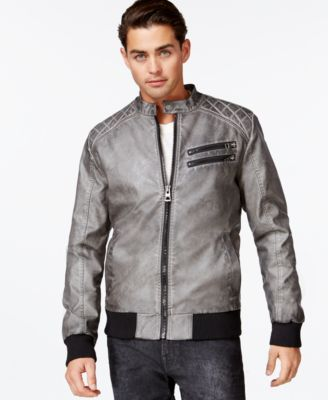 GUESS Quilted Faux-Leather Bomber Jacket - Coats & Jackets - Men ...